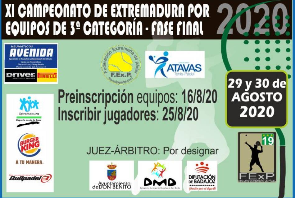 FASE FINAL CAMPEONATO EXTREMADURA EQUIPOS DE 3ª CATEGORÍA 2020