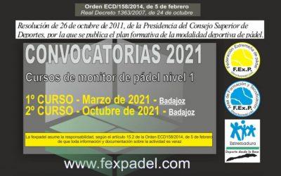 CURSOS DE FORMACIÓN DE PÁDEL PARA EL 2021
