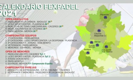 SE PUBLICA EL CALENDARIO TENTATIVO FEXPADEL 2021
