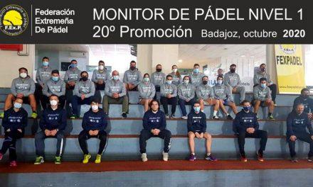 20º PROMOCIÓN DE MONITORES DE PADEL NIVEL 1 FEXPADEL 2020