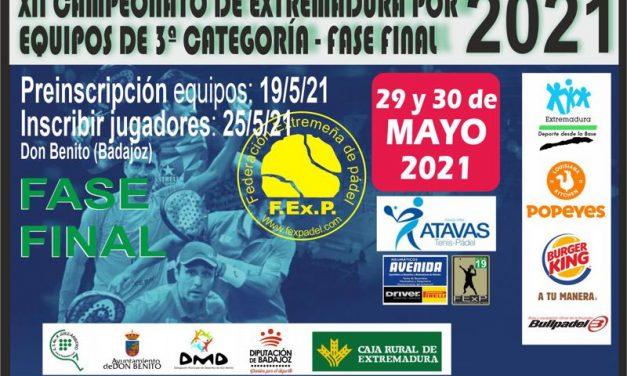 FASE FINAL CAMPEONATO DE EXTREMADURA POR EQUIPOS DE 3ª CATEGORÍA 2021