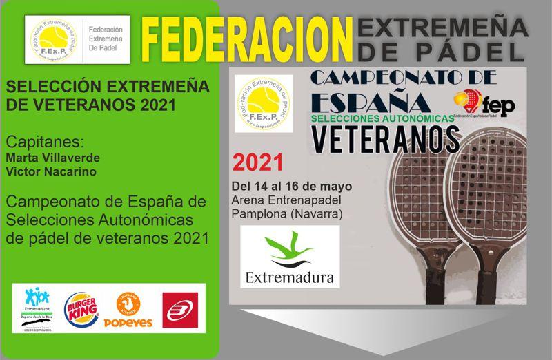 SELECCIÓN EXTREMEÑA DE PÁDEL VETERANOS 2021