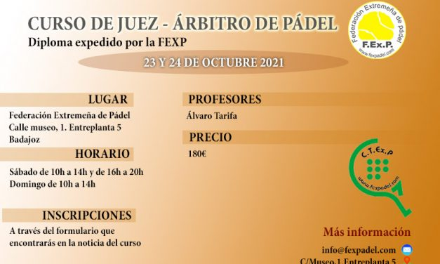 CURSO DE JUEZ ÁRBITRO AUTONÓMICO DE PÁDEL 2021