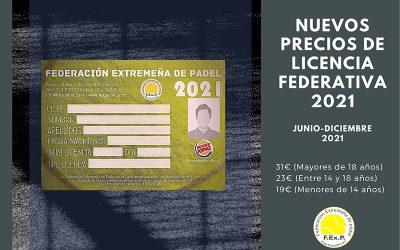 NUEVOS PRECIOS DE LICENCIA FEDERATIVA 2021